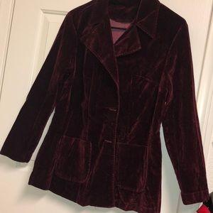 Dark red crimson Crush Velvet handmade Blazer